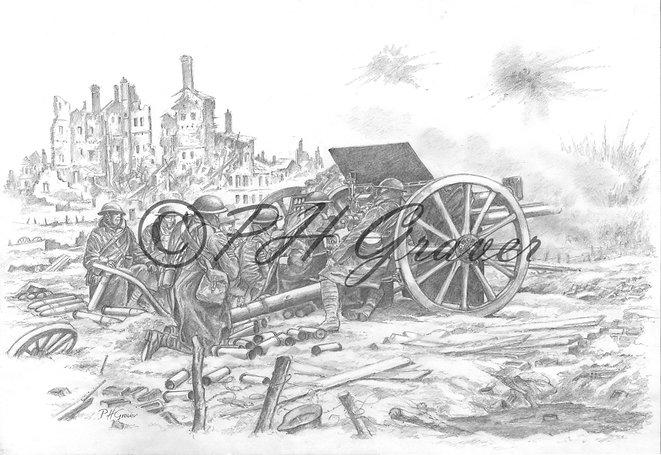 MAT#12 The Royal Artillery At Mons Pencil Drawing