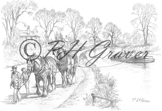 HAF#26 Down The Towpath Pencil Drawing