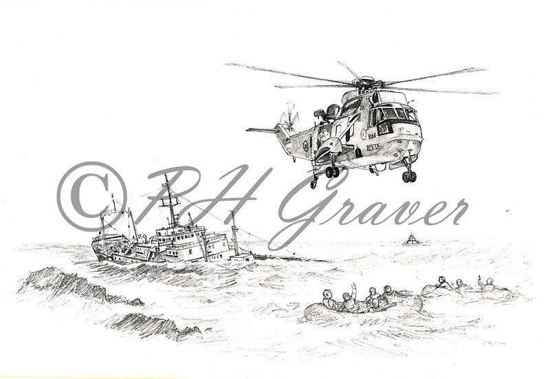 A#01 Air And Sea Rescue Pencil Drawing