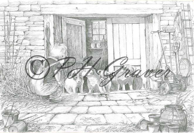HAF#28 Puppy Love Pencil Drawing