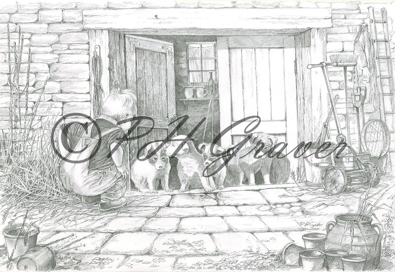 HAF#28 Puppy Love Pencil Drawing