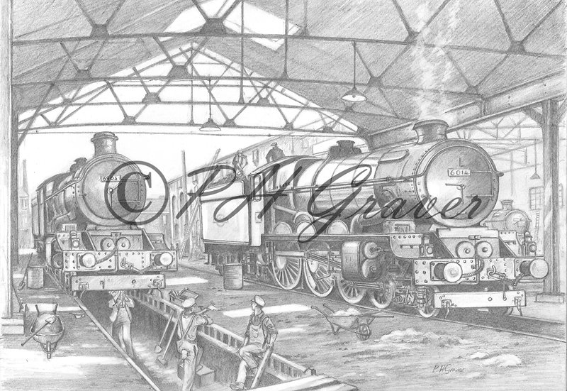 MAT#10 King & Castle Class Locos In The Engine Shed Pencil Drawing