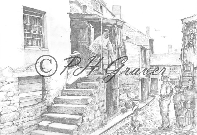 OC#6 Back Street St Ives Pencil Drawing