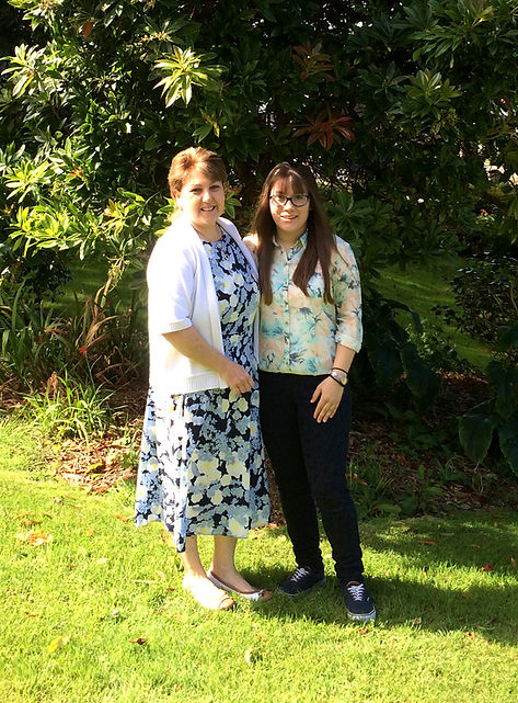 Maria & Anne Squire in the gardens at Elerkey Guest House