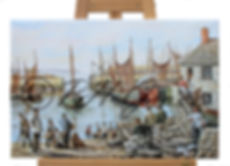 A Giclee Canvas Print From An Oil Painting of Mousehole in 1800s By Harvey Graver Showing Canvas Options Available