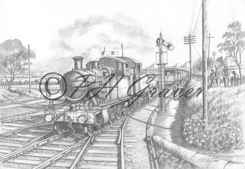 MAT#11 St Dennis Junction Cornwall Pencil Drawing