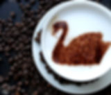 Fairtrade Cappuccino with decorative swan chocolate dusting