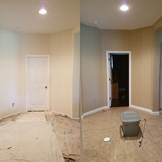 before and after interior hallway painting