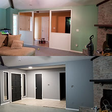 Before and After Living Room where partition was taken out