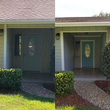 Front door painted blue for a pop of color. Before and After