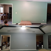Before and After Repainted Living Room