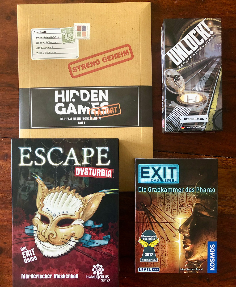 Brett Escape Game Dysturbia EXIT Kosmos Grabkammer des Pharao Hidden Games Unlock Formel