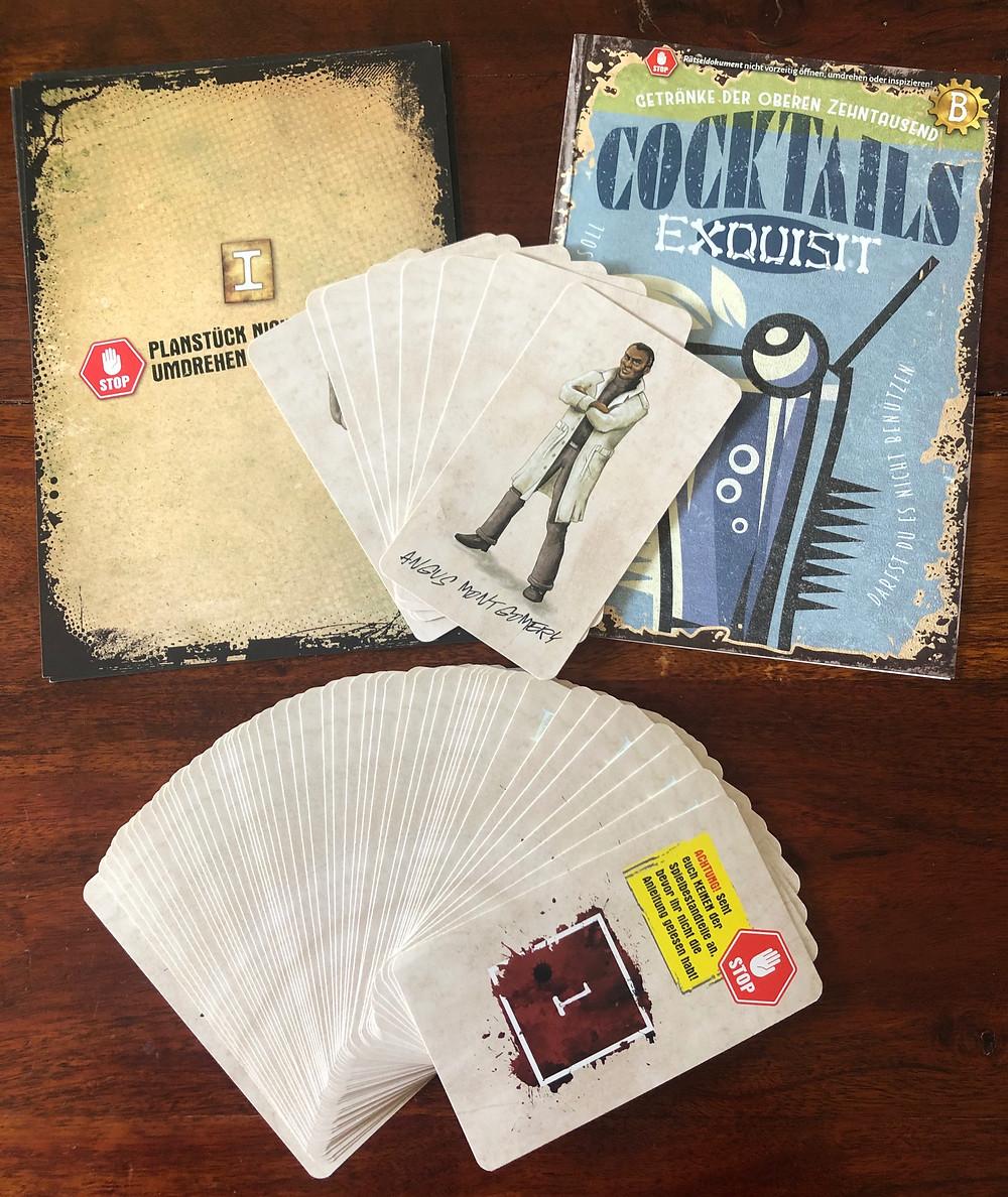 Escape Dysturbia homunculus verlag Mörderischer Maskenball Brett Escape Game Spielmaterial