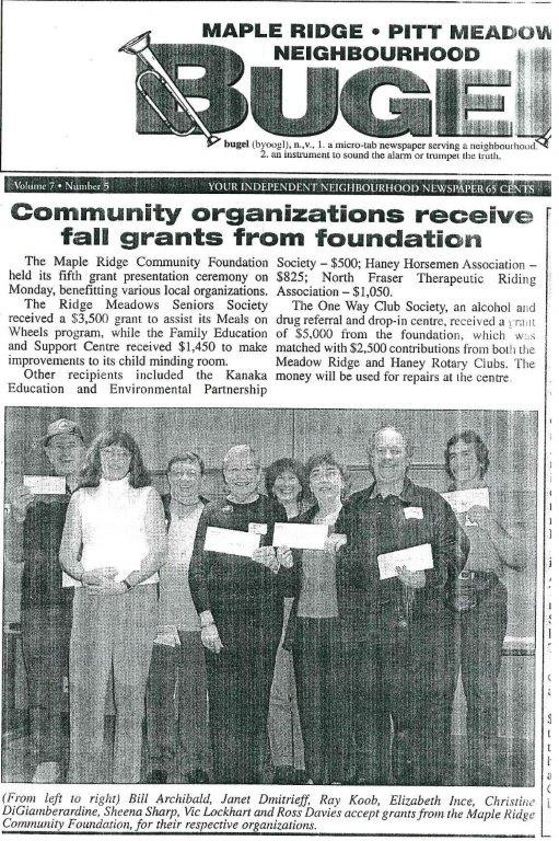 Community Foundation Grant presentation