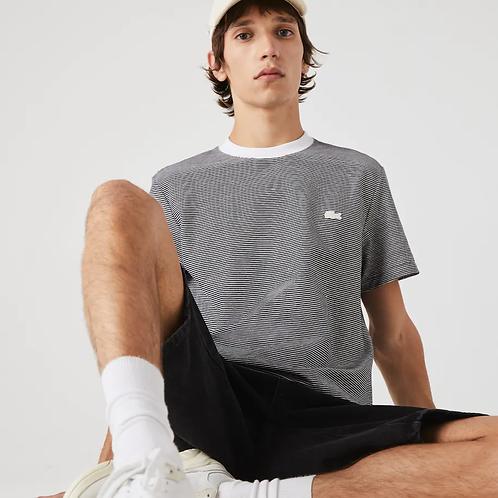 T-shirt da uomo in lino e cotone a righe con collo rotondo
