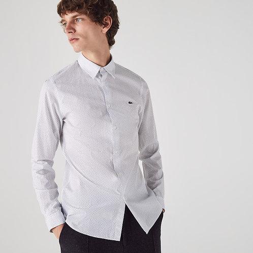 Camicia da uomo in popeline di cotone con micro stampa slim fit