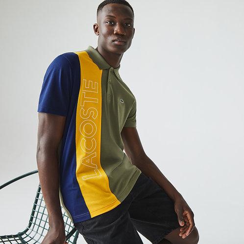 Polo da uomo regular fit in maglia leggera color block Lacoste