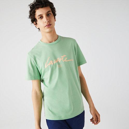 T-shirt da uomo in cotone con collo rotondo e scritta stampata