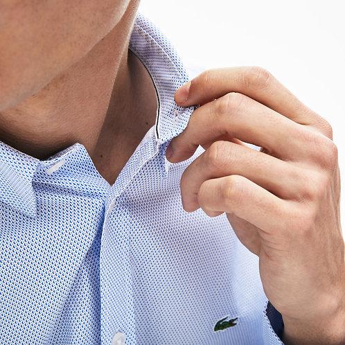 Camicia manica lunga con microdisegni slim fit in popeline di cotone