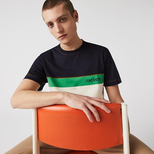 T-shirt da uomo in cotone con collo rotondo, motivo color block e scritta