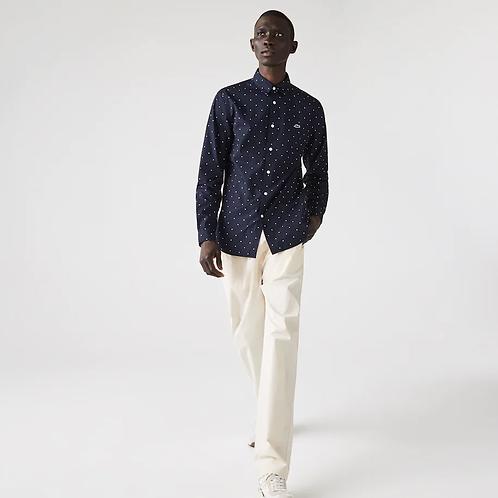 Camicia da uomo in popeline di cotone a pois slim fit