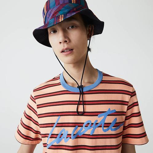 T-shirt da uomo in cotone a righe con collo rotondo e scritta stampata