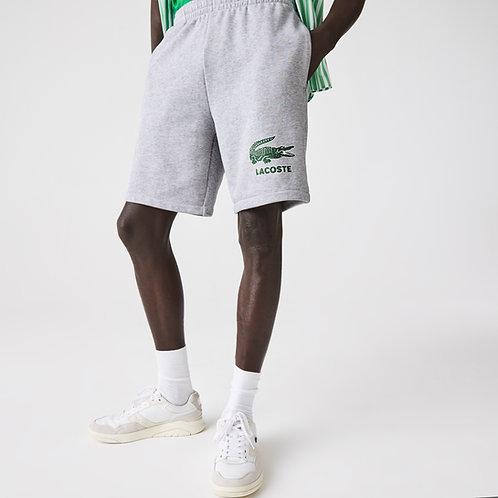 Pantaloni corti da uomo in felpa di cotone con logo stampato