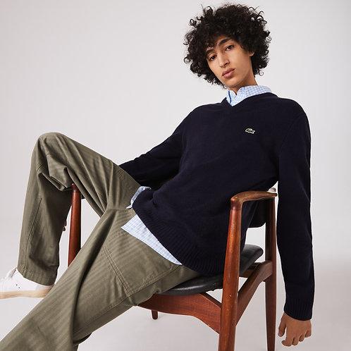 Pullover da uomo in lana con scollo a v