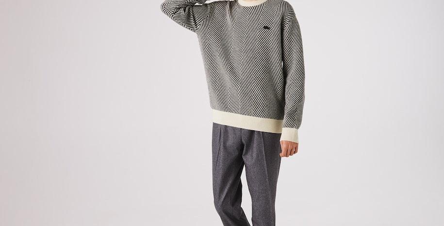 Pullover da uomo con collo rotondo in lana testurizzata eco-friendly