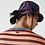 Thumbnail: T-shirt da uomo in cotone a righe con collo rotondo e scritta stampata