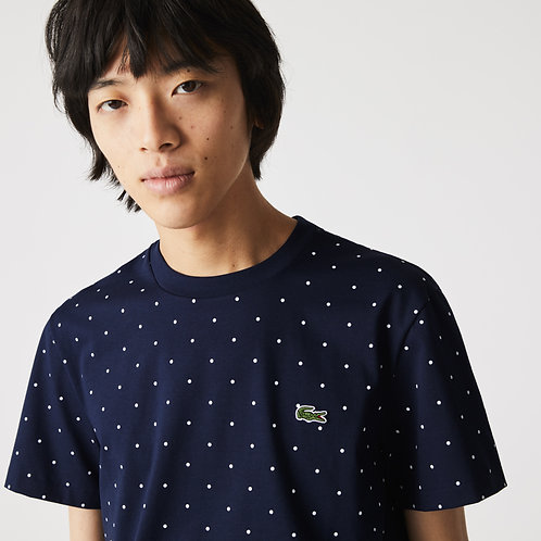 T-shirt da uomo in cotone con collo rotondo e stampa a pois