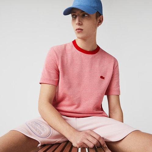 T-shirt da uomo in cotone testurizzato con collo rotondo
