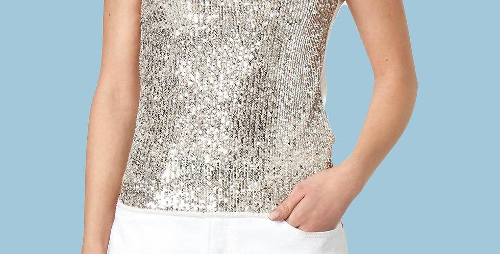 T-shirti bianca con ricamo in maglia e paillettes argento sul davanti