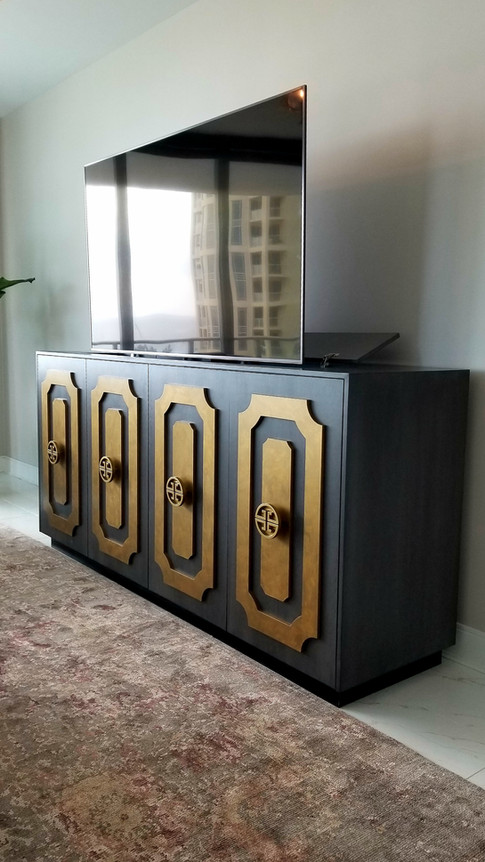 Oak and Gold Leaf Television Stand