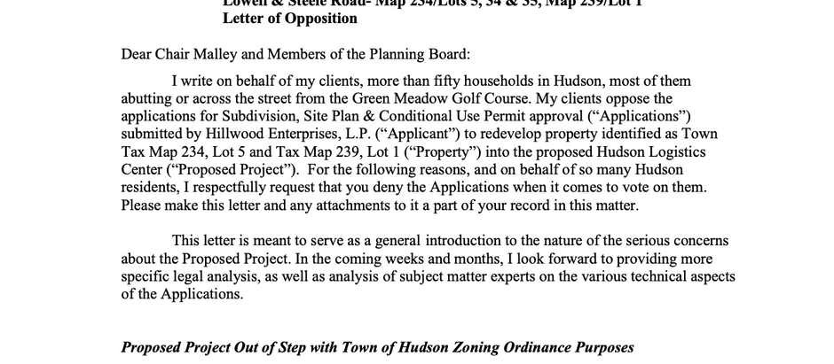 Amy Manzelli's 8/12 Letter to the Planning Board and 9/11 Conservation Committee Letter