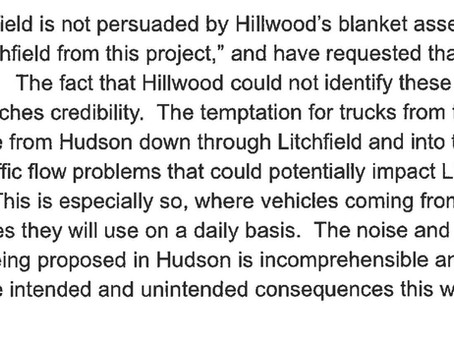 Litchfield's Letter to Hudson's Planning Board About Traffic Impacts