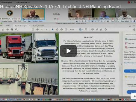SaveHudsonNH Speaks At 10/6/20 Litchfield NH Planning Board