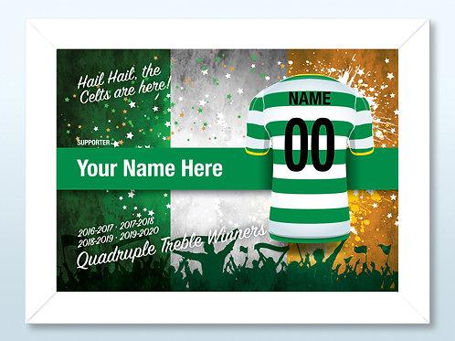 """Framed Celtic Fan Print 7""""x 5"""" A"""
