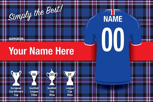 """Framed Rangers Fan Print 7""""x 5""""B"""