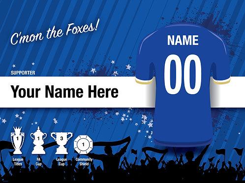 "Framed Leicester City Fan Print 7""x 5"""