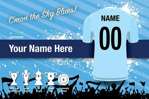 """Framed Manchester City Fan Print 7""""x 5"""""""