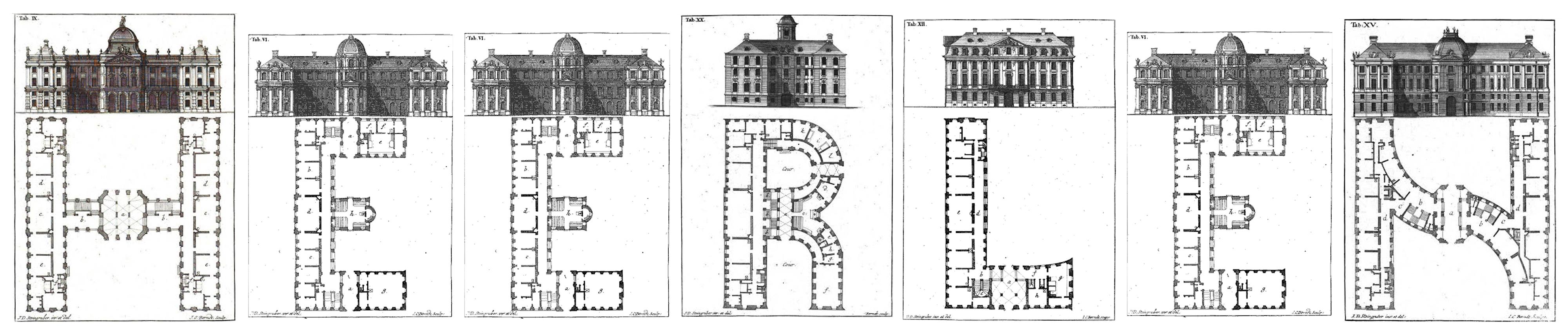 Architectural Alphabet by Johan David Steingruber (1773)