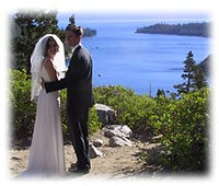 The stunning Beagle's at their Lake Tahoe beach wedding