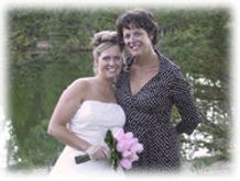 Mrs. Crilly and her Mom at their Lake Tahoe beach wedding