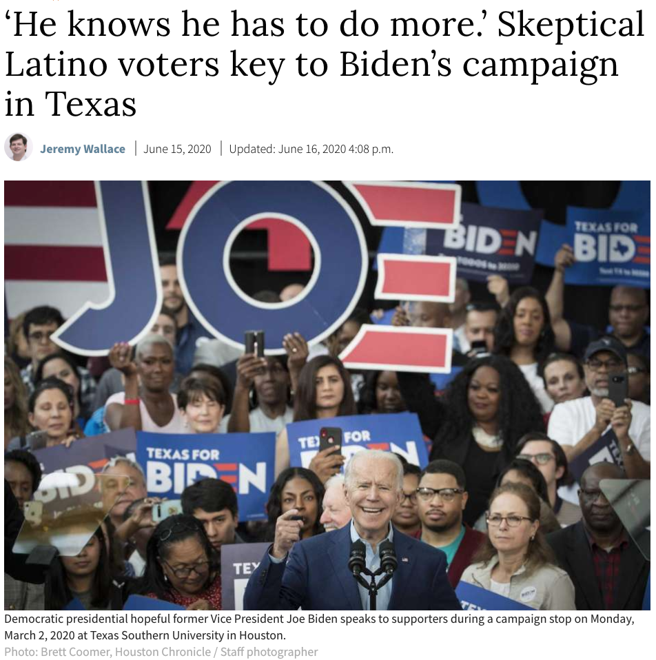 'He knows he has to do more.' Skeptical Latino voters key to Biden's campaign in Texas