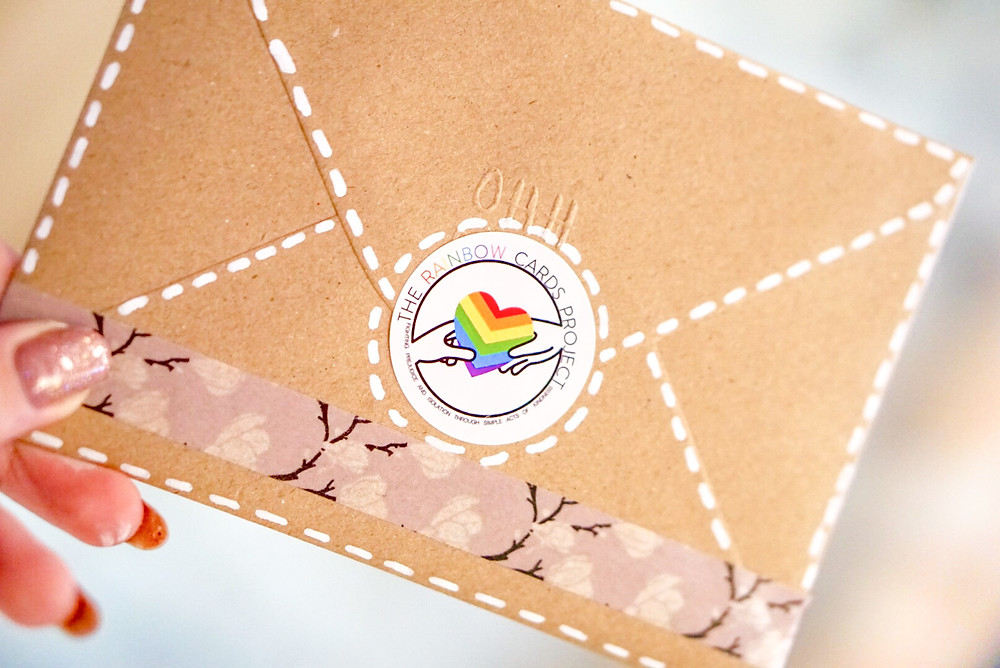 A card from The Rainbow Cards Project which sends birthday and Christmas/holiday cards to LGBT+ people who have been disowned by their families.