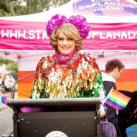 Dolly Diamond at the opening of St Kilda's Pride Road.