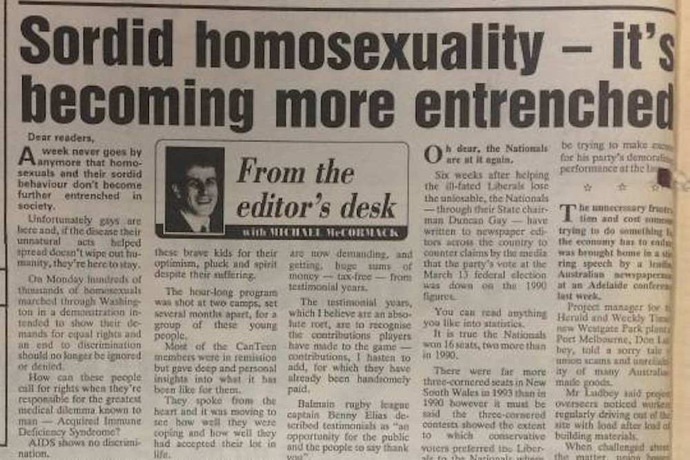 Excerpt from Michael McCormack's anti-LGBT column in 1993, when he was editor of the Waga Waga Daily Advertiser.