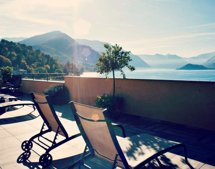 The view from the roof terrace at the Hotel Du Lac in Bellagio on Lake Como.