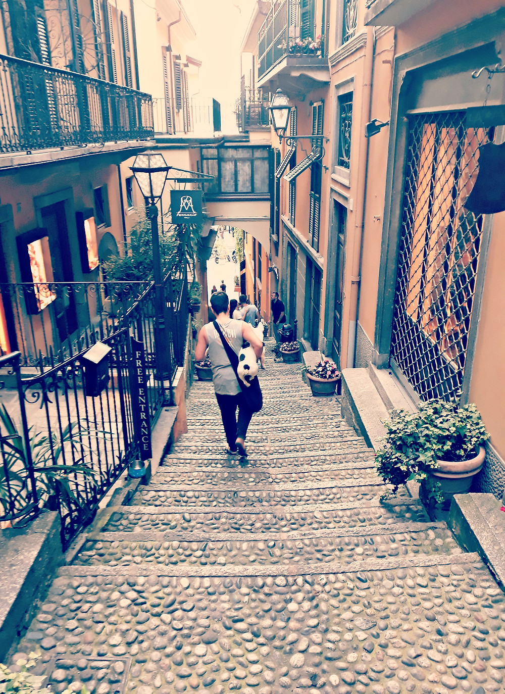 A tiny cobblestone laneway in Bellagio on Lake Como.